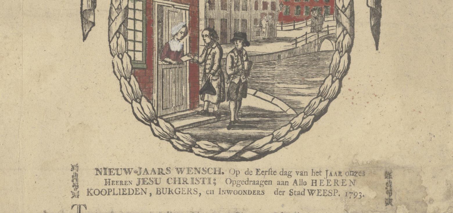 De Nieuwjaarsgroet van de 18de-eeuwse pakketbezorger